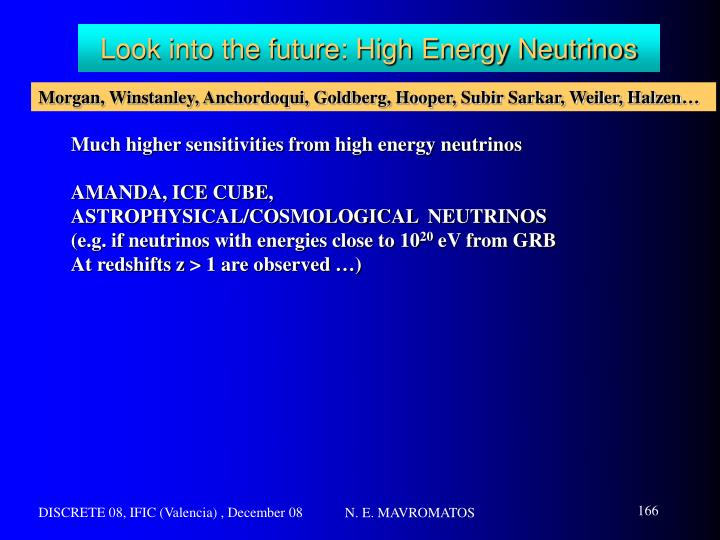 Look into the future: High Energy Neutrinos