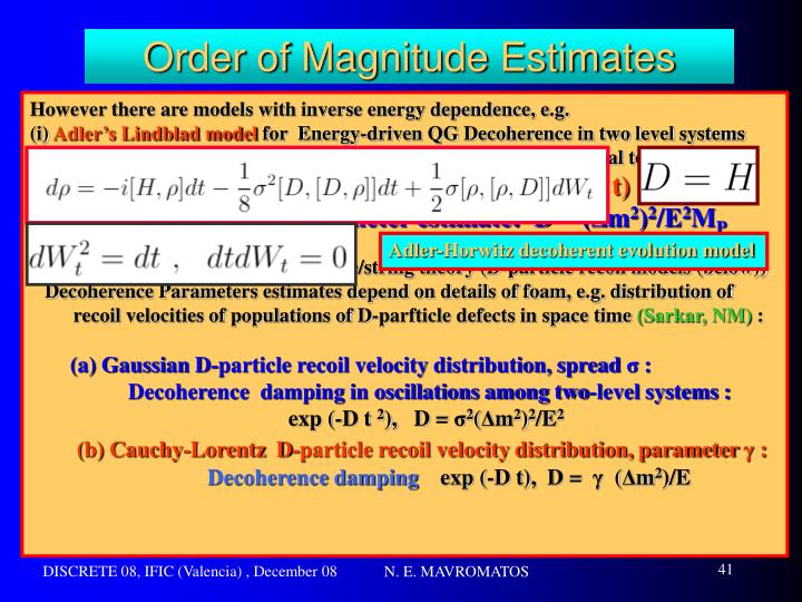 Order of Magnitude Estimates