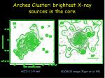 arches cluster brightest x ray sources in the core