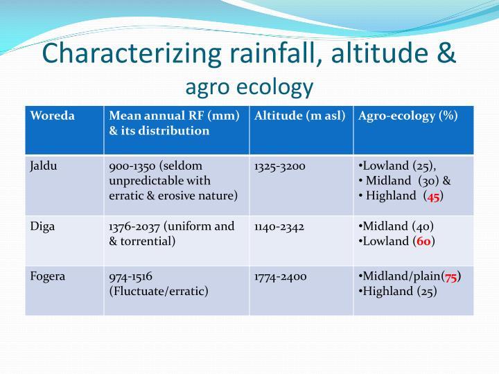 Characterizing rainfall, altitude &