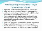 historical occupational trend analysis landuse cover change