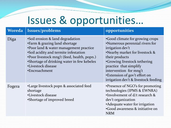 Issues & opportunities…