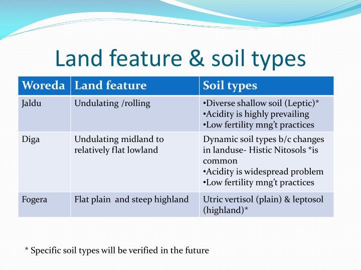 Land feature & soil types