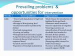 prevailing problems opportunities for intervention