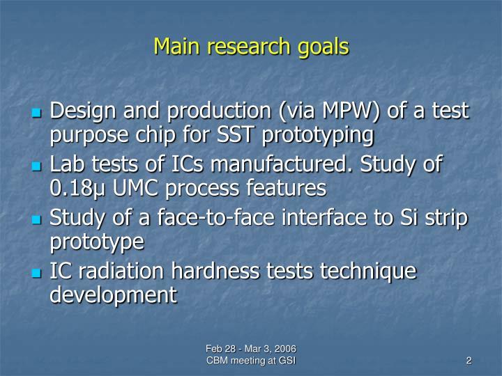 Main research goals