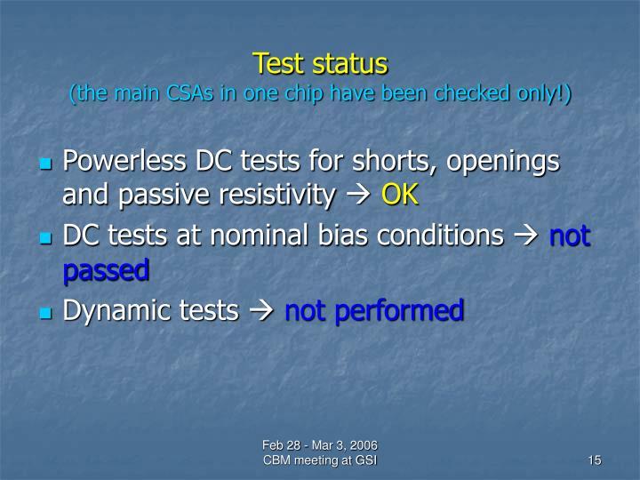 Test status