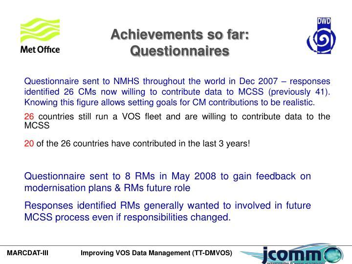 Achievements so far: Questionnaires
