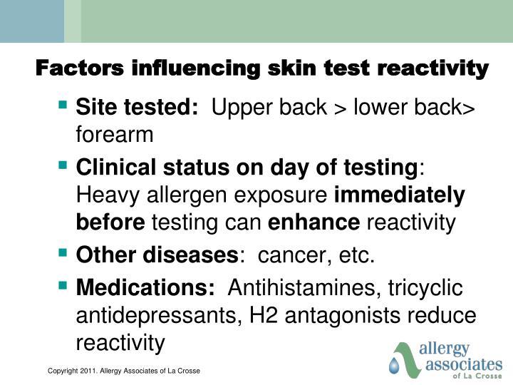 Factors influencing skin test reactivity