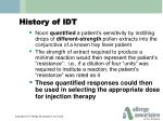 history of idt1