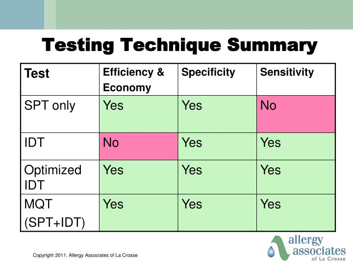 Testing Technique Summary