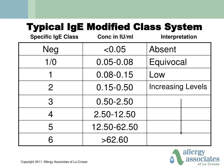 Typical IgE Modified Class System
