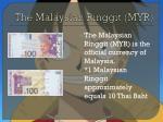 the malaysian ringgit myr