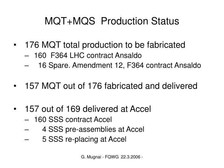 MQT+MQS  Production Status