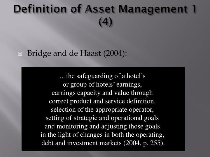 Definition of Asset Management 1 (4)