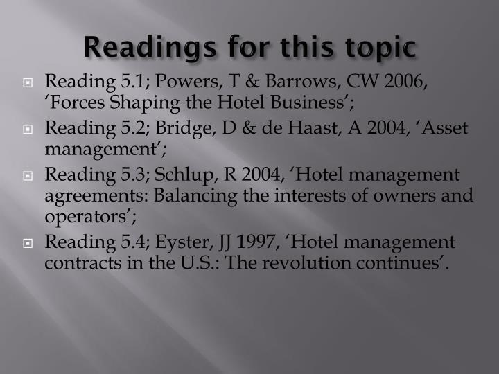 Readings for this topic