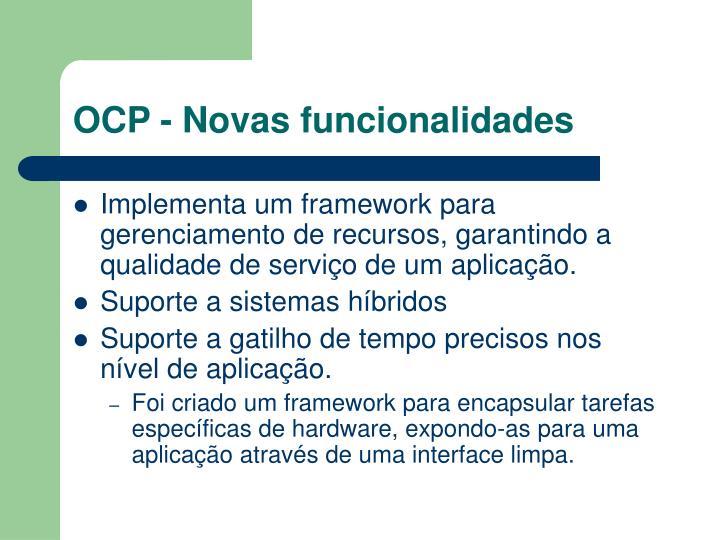 OCP - Novas funcionalidades