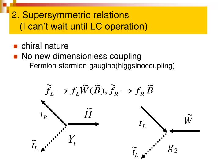 2. Supersymmetric relations