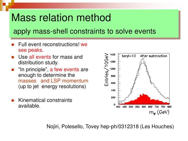 Mass relation method