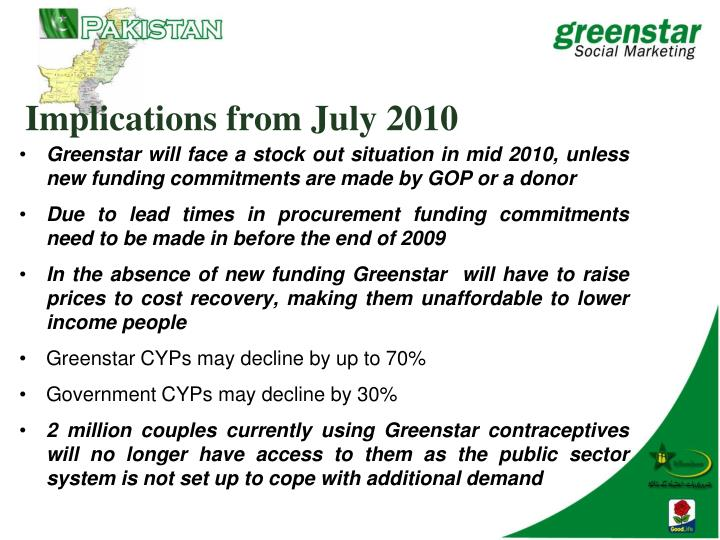 Implications from July 2010