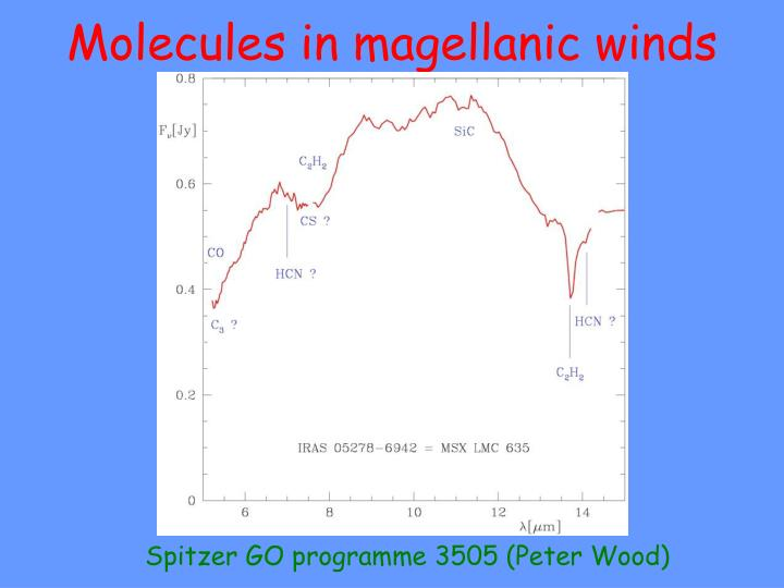 Molecules in magellanic winds