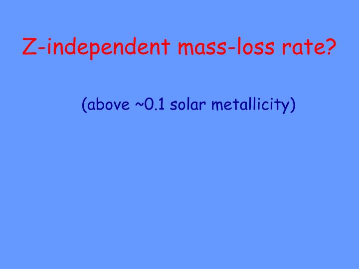 Z-independent mass-loss rate?
