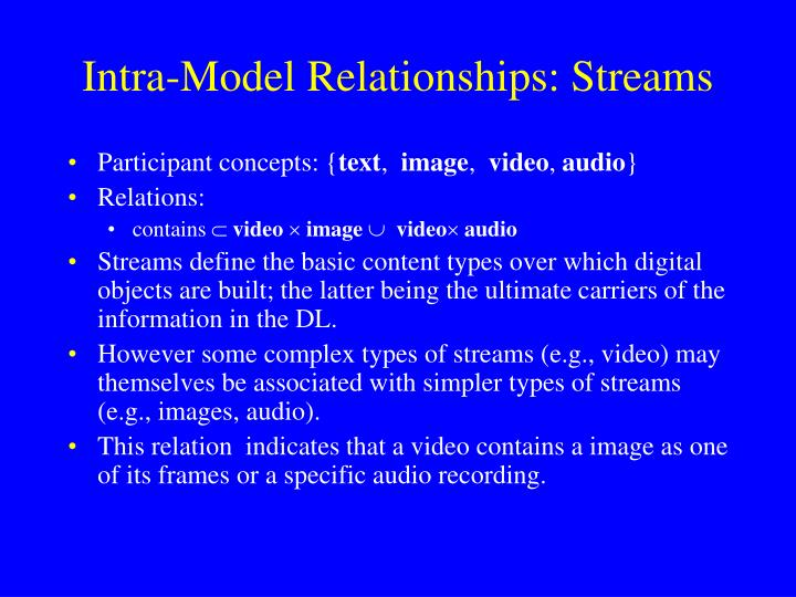 Intra-Model Relationships: Streams