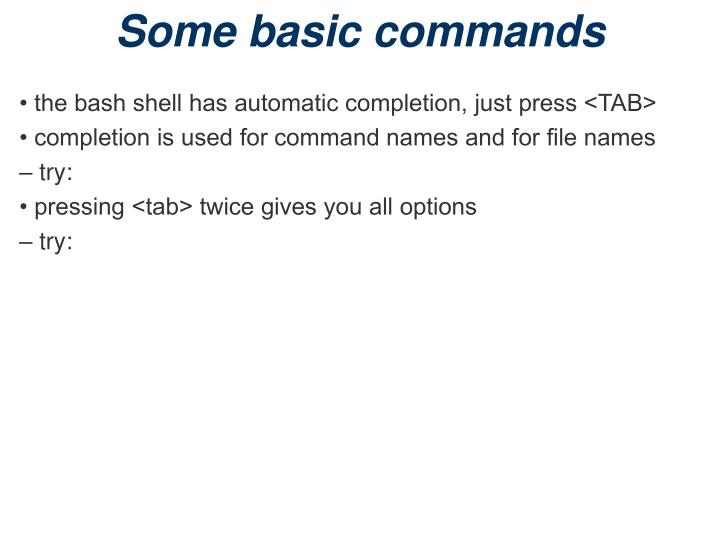 Some basic commands