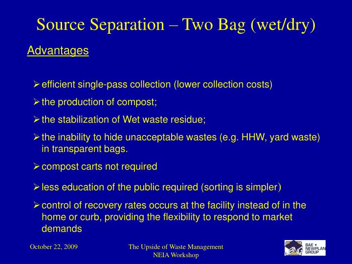 Source Separation – Two Bag (wet/dry)