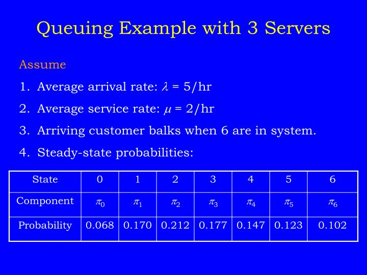 Queuing Example with 3 Servers
