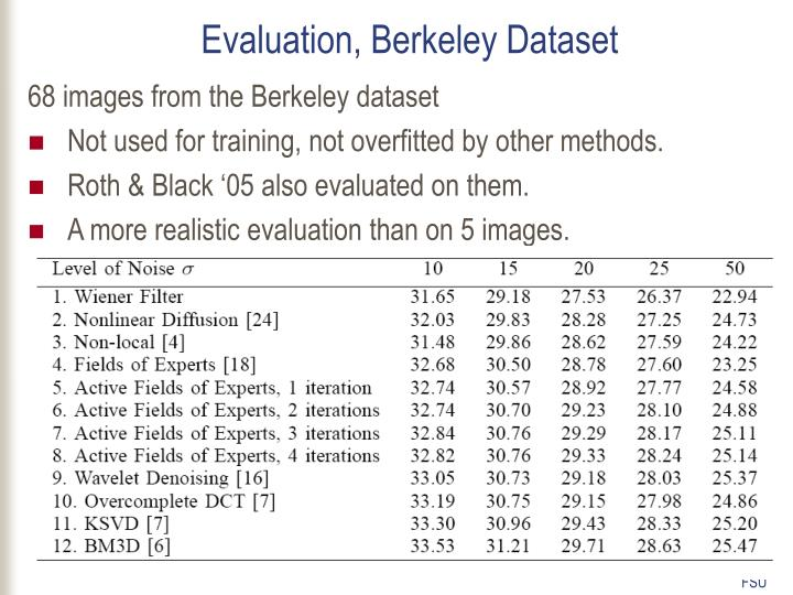 Evaluation, Berkeley Dataset