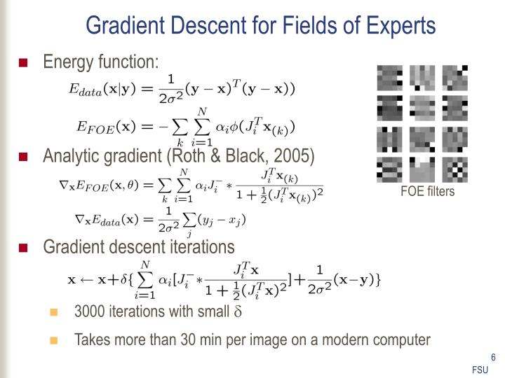 Gradient Descent for Fields of Experts