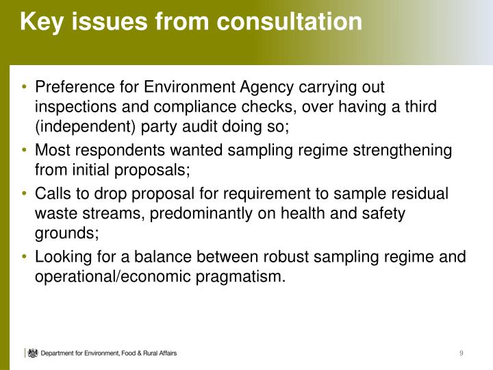 Key issues from consultation
