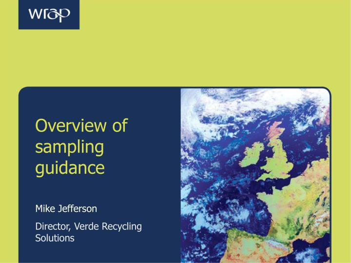 Overview of sampling guidance