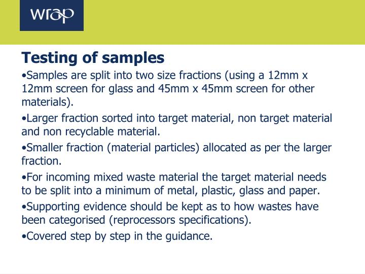 Testing of samples