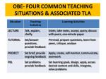 obe four common teaching situations associated tla