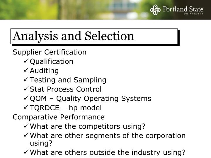 Analysis and Selection