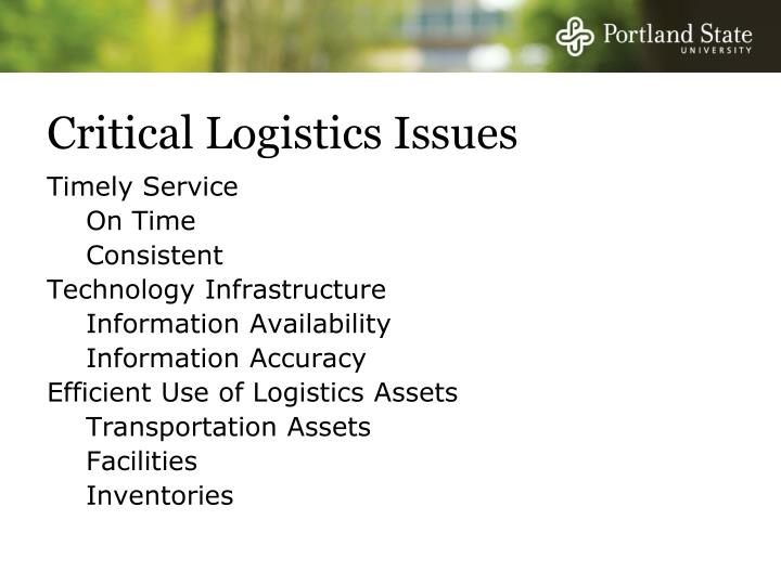 Critical Logistics Issues