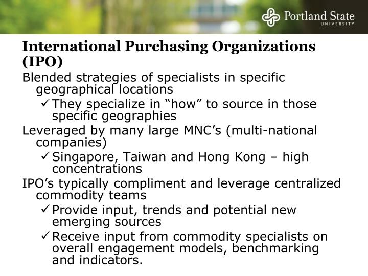 International Purchasing Organizations (IPO)