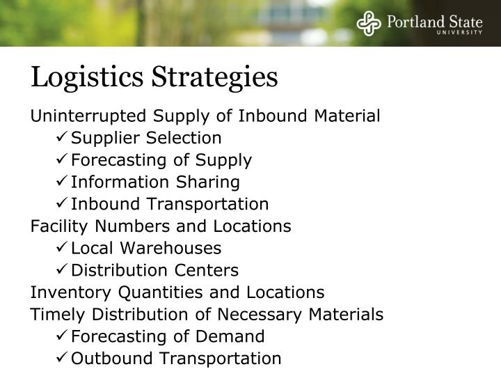 Logistics Strategies