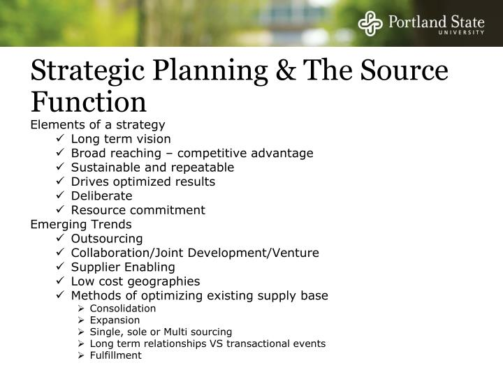 Strategic Planning & The Source Function