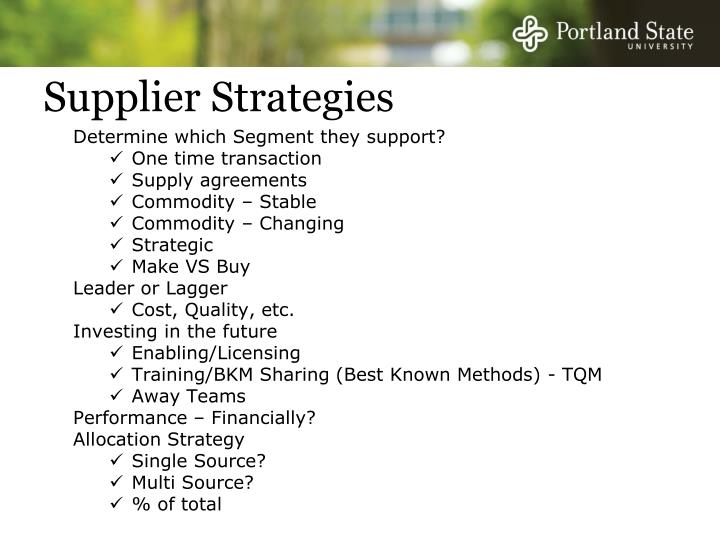 Supplier Strategies
