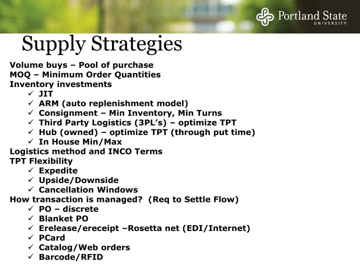 Supply Strategies