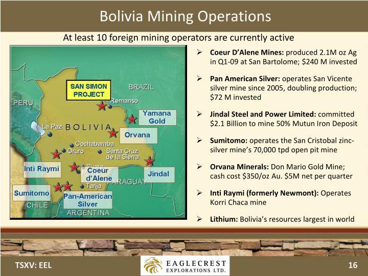 Bolivia Mining Operations