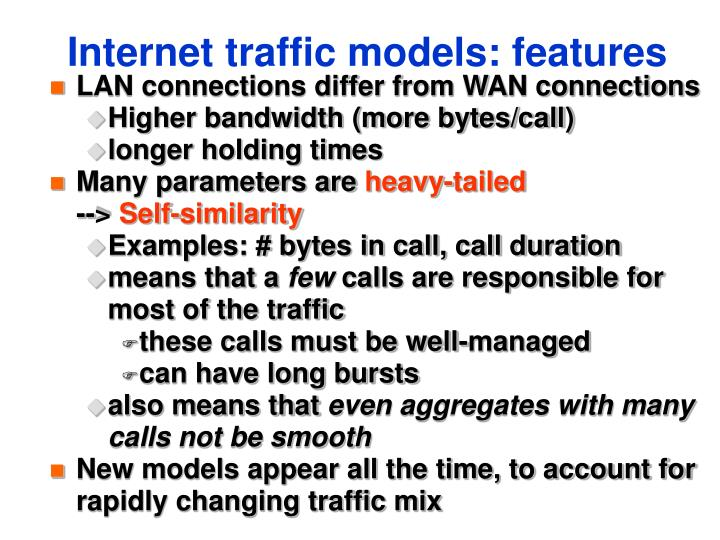 Internet traffic models: features