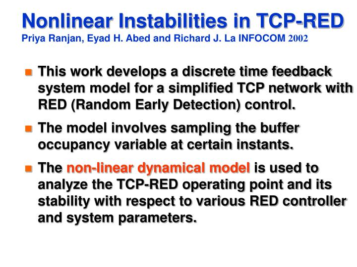 Nonlinear Instabilities in TCP-RED