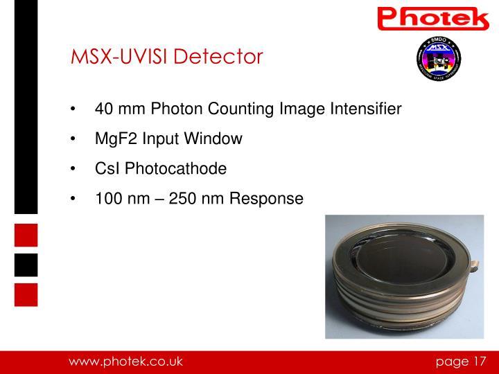 MSX-UVISI Detector