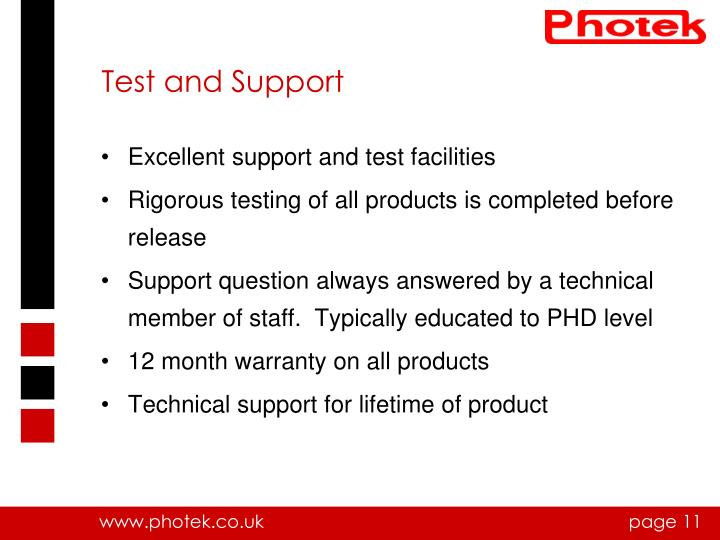 Test and Support
