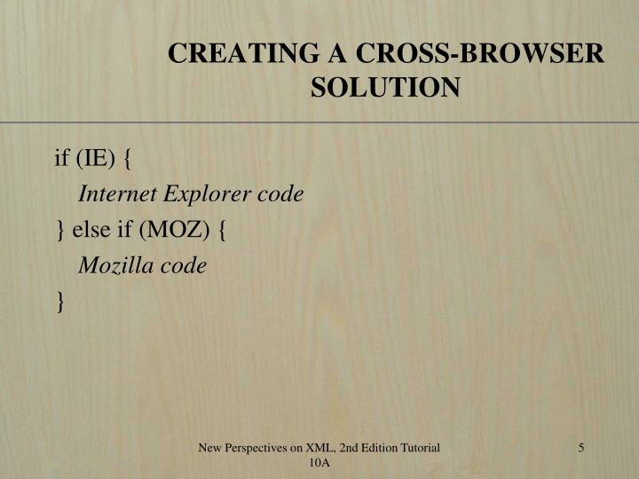 CREATING A CROSS-BROWSER SOLUTION