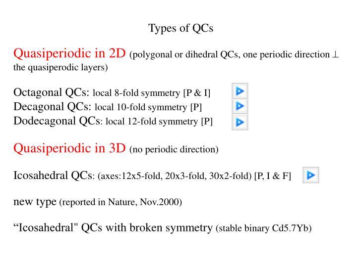 Types of QCs