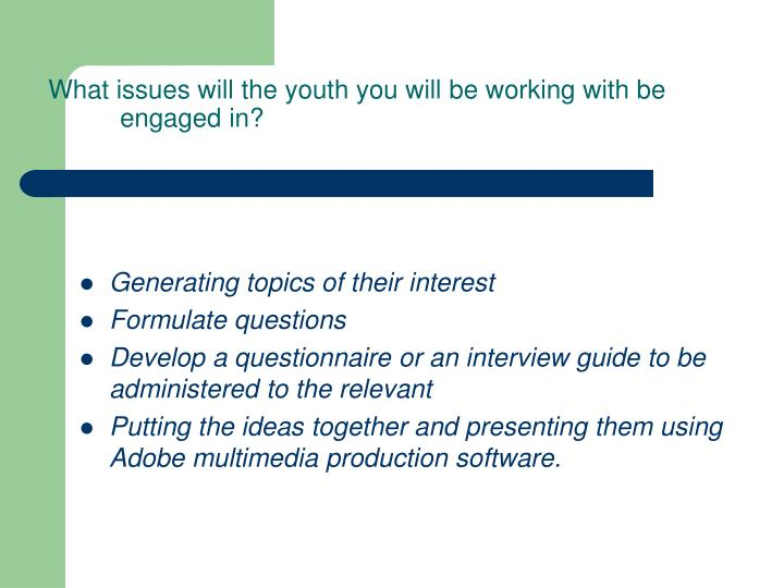 What issues will the youth you will be working with be engaged in?